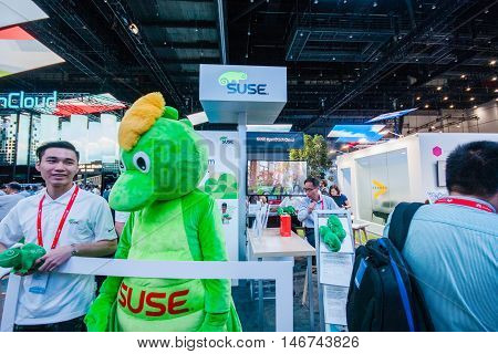 SHANGHAI CHINA - AUGUST 31 2016: Booth of SUSE company at Connect 2016 information technology conference and exhibition in Shanghai China on August 31 2016.