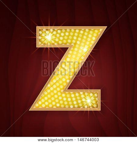 Gold light lamp bulb letter Z. Sparkling glitter shine alphabet for light board. Stylish glowing shining golden alphabet letter