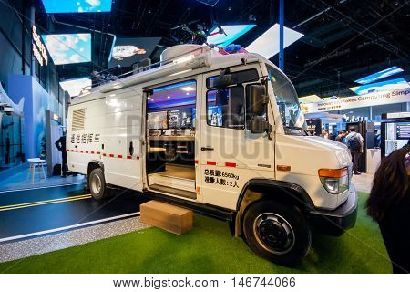 SHANGHAI CHINA - SEPTEMBER 2 2016: Auto mobile control center for Safe City project at Connect 2016 technology exhibition in Shanghai China on September 2 2016.