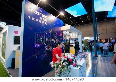 SHANGHAI CHINA - SEPTEMBER 2 2016: Booth of Accenture company at Connect 2016 information technology conference and exhibition in Shanghai China on September 2 2016.