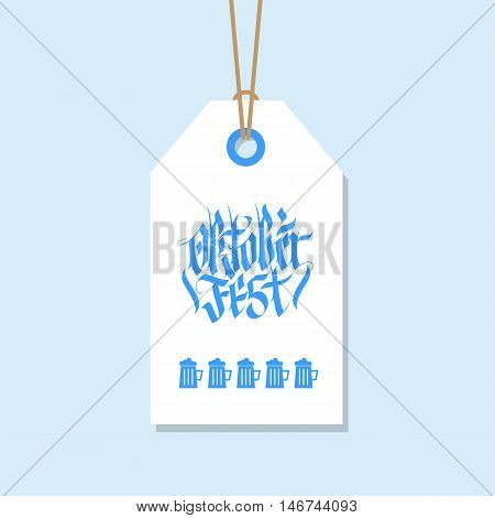 Oktoberfest tag. German Beer Fest label with hand drawn element in national bavarian colors. Holiday badge design. Vector illustration.
