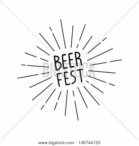 Handwritten inscription Beer Fest with sunburst. Hand drawn lettering for your design. Vector illustration.