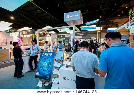 SHANGHAI CHINA - SEPTEMBER 2 2016: Booth of Seagate company at Connect 2016 information technology conference and exhibition in Shanghai China on September 2 2016.