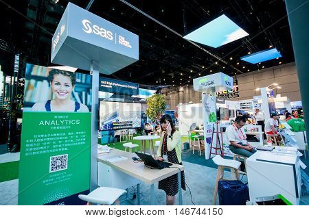 SHANGHAI CHINA - SEPTEMBER 2 2016: Booth of SAS company at Connect 2016 information technology conference and exhibition in Shanghai China on September 2 2016.