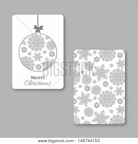 Christmas and New Year visiting card with christmas snowflake ball. White and grey colors vintage decorative style. Vector illustration.