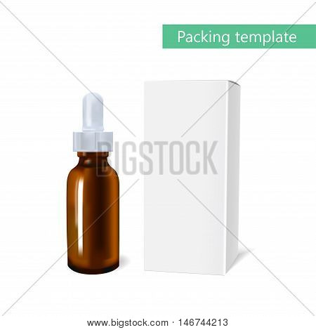 Essential oil package mockup. cosmetic oil with a pipette bottle. The idea of advertising design cosmetics and medicines, brochures about health and skin care products