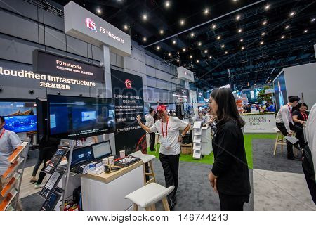 SHANGHAI CHINA - SEPTEMBER 2 2016: Booth of F5 Networks company at Connect 2016 information technology conference and exhibition in Shanghai China on September 2 2016.