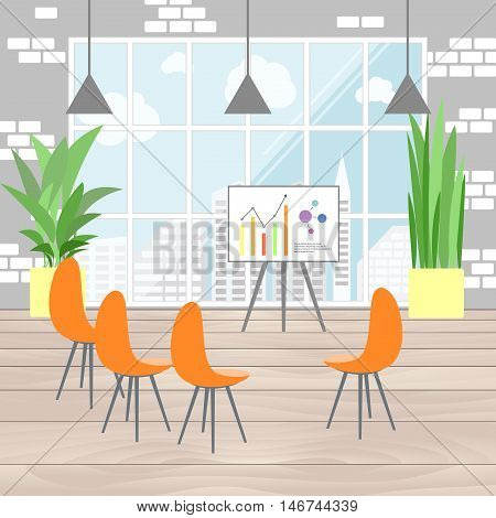 Office interior in flat design infographic presentation view from the window on megapolis. Flat business concept vector illustration.