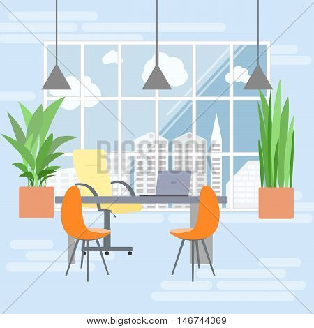 Boss office interior in flat design view from the window on megapolis. Flat business concept vector illustration.