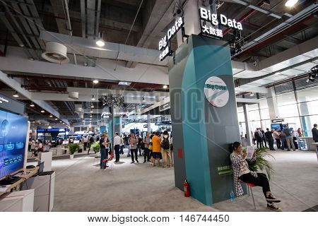 SHANGHAI CHINA - SEPTEMBER 2 2016: Big Data Huawei booth at Connect 2016 information technology conference and exhibition in Shanghai China on September 2 2016.