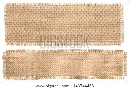Burlap Fabric Patch Piece Rustic Hessian Sack Cloth Isolated Torn Pieces