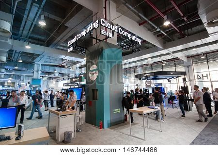 SHANGHAI CHINA - SEPTEMBER 2 2016: Cloud Computing Huawei booth at Connect 2016 information technology conference and exhibition in Shanghai China on September 2 2016.
