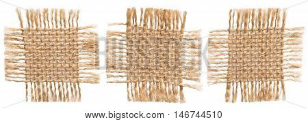 Burlap Fabric Pieces Rustic Hessian Cloth Torn Sack Patch Isolated over White