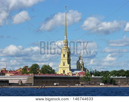 View of the Peter and Paul fortress. Peter and Paul cathedral. Landmark. Tourist attraction. Monument of architecture. Saint Petersburg. Russia.