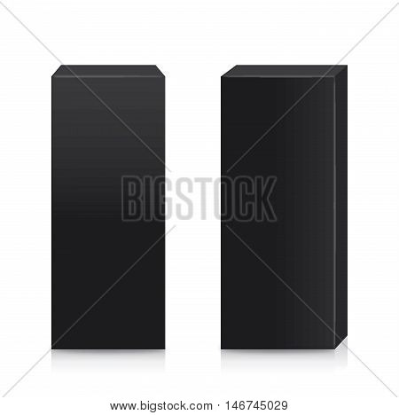 Vector black box tall shape in side view and front view for packaging mock up. Isolated on white background.