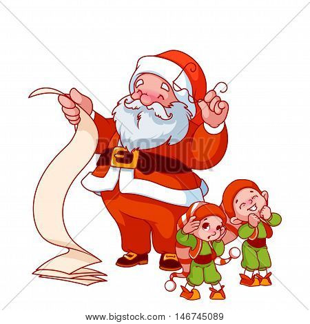 Santa Claus With Long Scroll And Two Little Helpers.