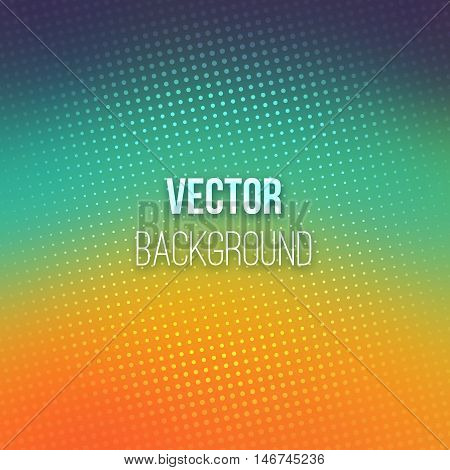 Colorful blurred background with halftone effect overlay. Dotted pattern on smooth emerald and orange abstract gradient backdrop. Vector illustration