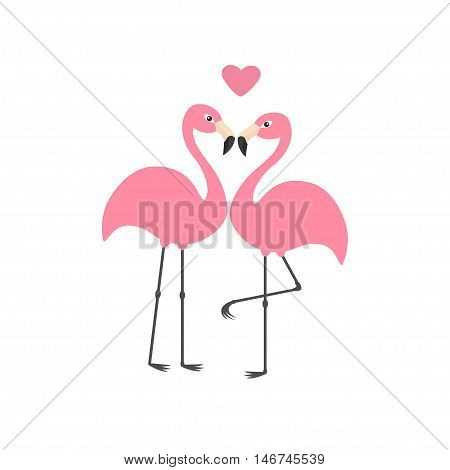 Pink flamingo couple and heart. Exotic tropical bird. Zoo animal collection. Cute cartoon character. Love greeting card. Flat design. White background Isolated Vector illustration
