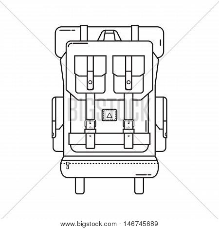 Retro hiking backpack in thin line design. Tourist rucksack with sleeping bag. Camping backpack outline vector illustration. Hiking bag icon.