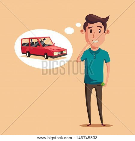 Man thinking of choice. Money for spending. Vectro cartoon illustration. Character design. Cute person. Good idea.