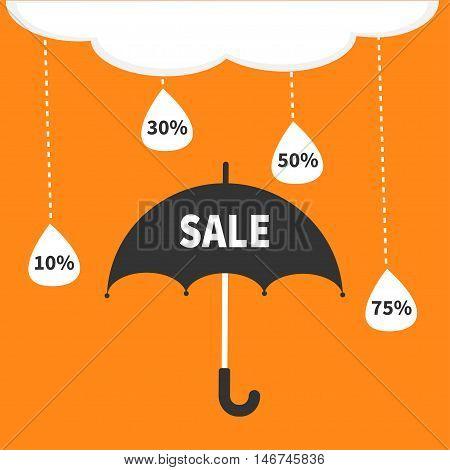 Monsoon season offer. Black umbrella. Cloud with hanging dash line raining drops. 10 30 50 75 persent off. Big sale banner poster. Flat design. Orange background. Vector illustration