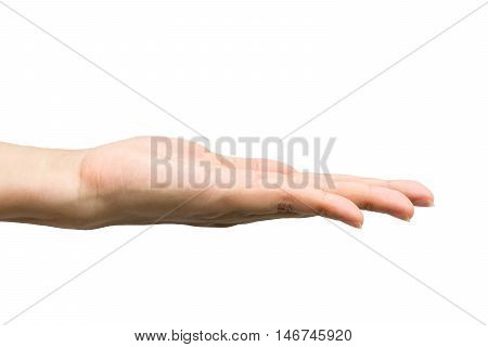 Open woman hand on white background. Clipping path included.
