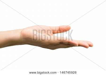 Open woman hand on white background. Clipping path included