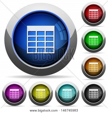 Set of round glossy Spreadsheet table buttons. Arranged layer structure.