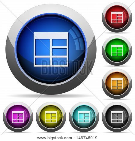 Set of round glossy Spreadsheet vertically merge table cells buttons. Arranged layer structure.