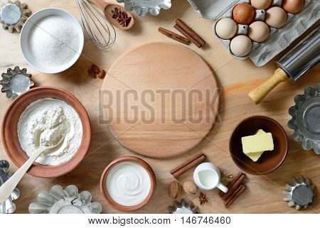 Baking ingredients background baking concept view from high angle