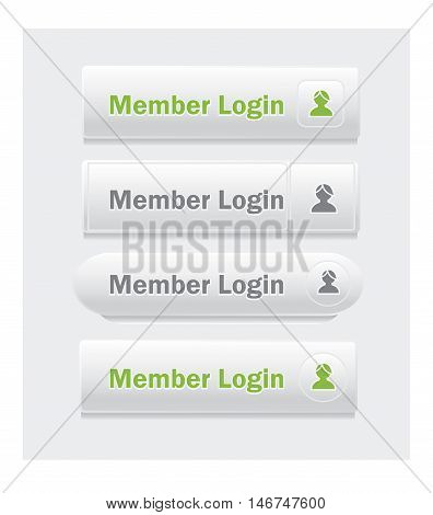 Member login. Set of vector web interface buttons. Shapes and styles variations.
