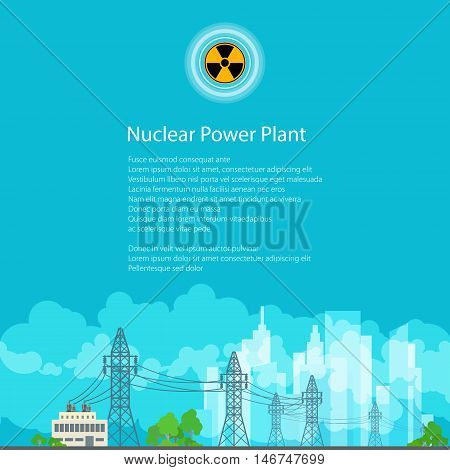High Voltage Power Lines Supplies Electricity to the City, Poster Brochure Flyer Design, Radiation Sign, Vector Illustration