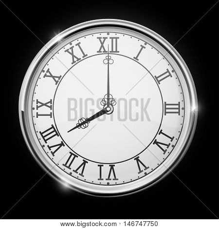 Vintage clock with roman numerals. Vector illustration on black background