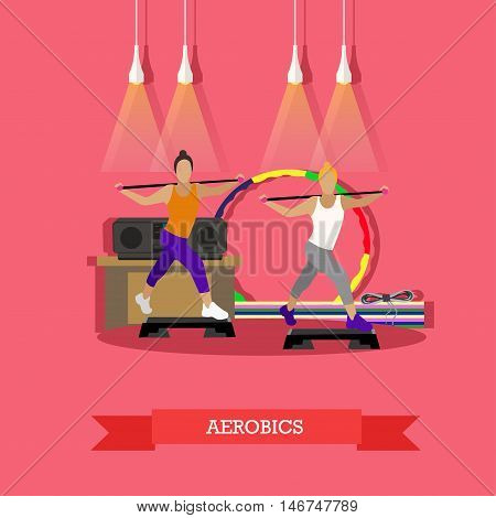Two young girls doing aerobics under music in fitness studio. Around sports equipment, hula Hoop, step-up platform, mats, tape recorder. Sports vector illustration in flat style design.