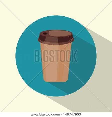 Cup of coffee. Plastic cup. Icon. Round. Drink. For your design. Flat style