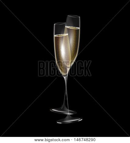 dark background and two glasses of champagne