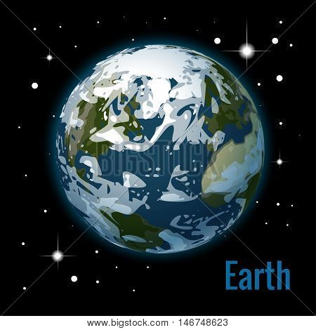 Planet earth with some clouds 3d vector illustration. High quality isometric solar system planets