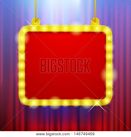 Shining party banner on red curtain background in blue light. Suspended glowing signboard. Square presentation artistic poster and placard. 3D illustration