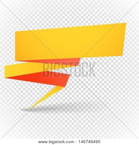 Color polygonal origami banner on transparent. Place your content here