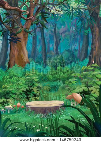 Old tree stump and mushrooms in a summer forest. Digital Painting Background Illustration in cartoon style character.