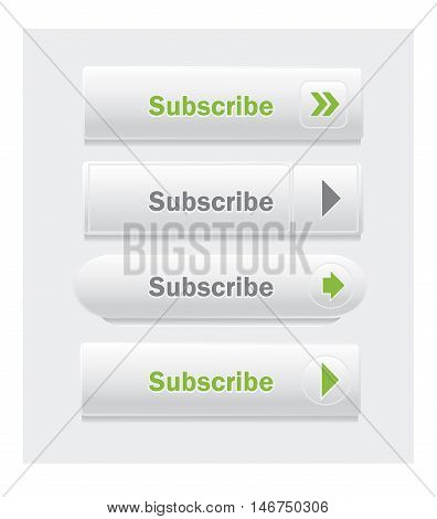 Subscribe. Set of vector web interface buttons. Shapes and styles variations.