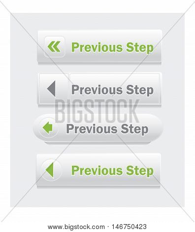 Previous step. Set of vector web interface buttons. Shapes and styles variations.