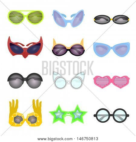 Collection vector sunglasses. Modern and retro style, shutter glasses for a masquerade party and photo shoots. Cartoon illustration isolated on white background