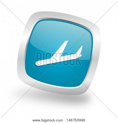 arrivals square glossy chrome silver metallic web icon
