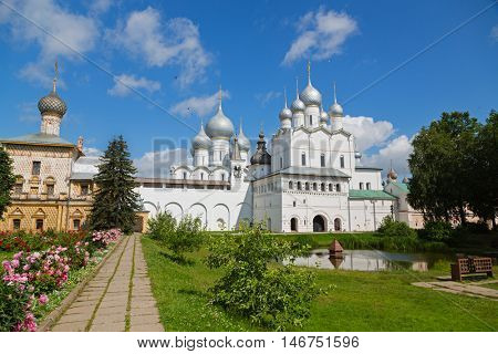 Courtyard of the Rostov Kremlin, Golden Ring of Russia. Kremlin of ancient town of Rostov the Great included in World Heritage list of UNESCO.