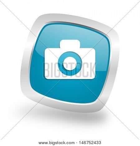 camera square glossy chrome silver metallic web icon