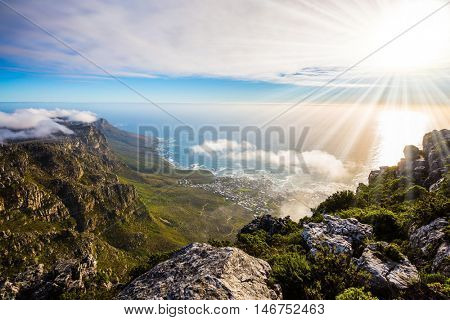View of the sunset in the Atlantic Ocean. National Park Table Mountain South Africa