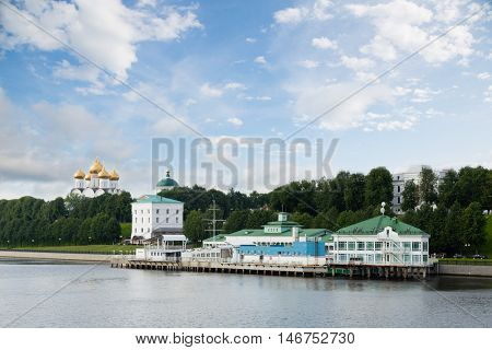 River jetty on the bank of the Volga river in Yaroslavl city in Russia