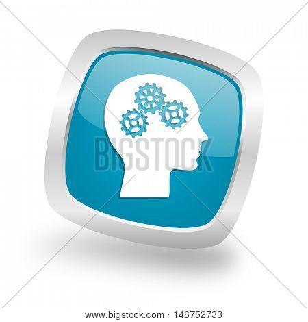 head square glossy chrome silver metallic web icon
