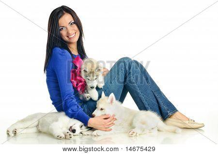 Woman And Haski